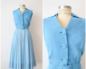 Vintage 60s Norman Wiatt Pastel Blue Dress with Sheer Pleated Skirt