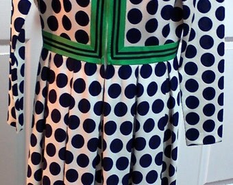 Vintage Nancy Greer Pleated Zip Up the Front Blue Polka Dot Dress