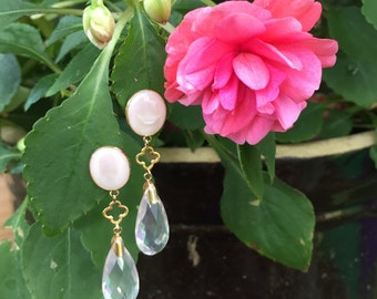 14K Pink Mother of Pearl Morganite Dangle Earrings | Designer Zoe B Drop Earrings