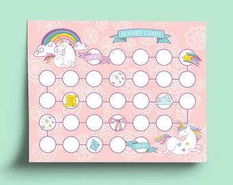 Printable Reward Chart Pink Unicorn   Printable Potty Training Chart    Printable Chore Chart   Printable  Printable Rewards Charts