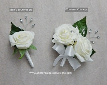 Corsage OR Boutonniere, white, silver, rose/roses, Real Touch flowers, silk, prom/wedding, buttonhole, artificial, winter, christmas