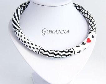 Bead crochet necklace Love in Heart