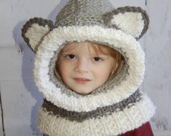 Hood Scarf - Hoodie - Cowl Hood - Hooded Cowl - Hooded Scarf - Knit - Wolf - Wolf Hat - Hat - Grey Wolf - Bulky Hood - Chunky Hood - Animal