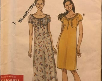 Simplicity 9013 - Very Easy Raised Waist Dress with Drawstring Neck in Knee or Maxi Length - Size 8 10 12 14 16 18