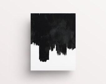 Brushstroke Wall Art, Black Art, Black and White Abstract Art, Printable Art, Scandinave Affiche, Black Paint Print, Black Brush Print