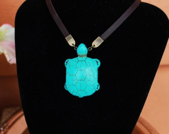 Turquoise Pendant Necklace, Blue Turtle Choker, Pendant Choker Necklace, Stone Pendant Necklace, Turquoise Necklace, Turtle Necklace - 00216