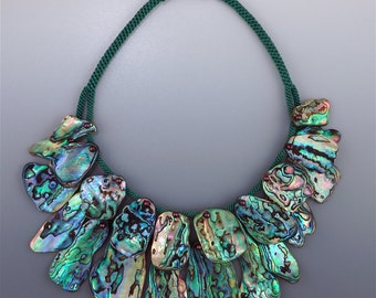 Tiered 'fan collar': natural Paua (Abalone) Shell on hand woven cord