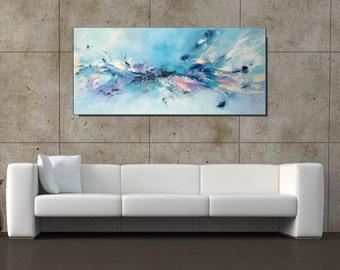 Blue Art Large Blue Abstract Painting, Modern Wall Art Canvas Art, Blue Artwork, Acrylic Painting On Canvas Home Decor Art, Christovart