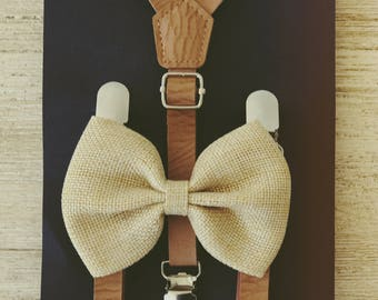Rustic Burlap Bowtie Suspender Tan Bow Tie Suspender Little Boys Leather Suspenders Little Man Suspenders Leather Toddler Braces and Bowtie