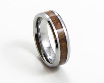 Elegant Koa Wood, Thin Men's Wedding Band, 6MM, Men's Ring, Tungsten Carbide Ring, Wood Inlay, Sizes 7-13