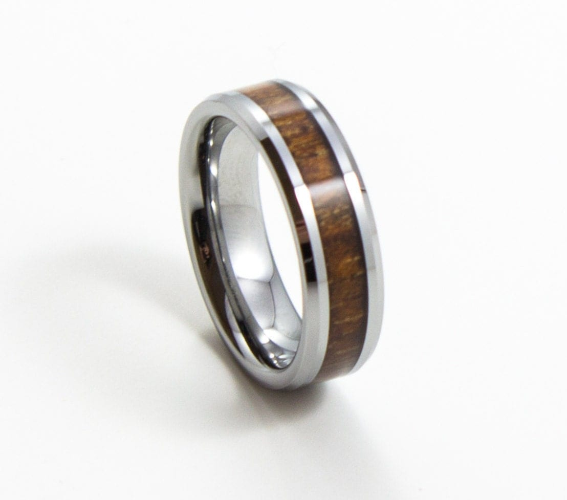Elegant Koa Wood Thin Mens Wedding Band 6MM