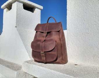 Waxed Brown LEATHER BACKPACK, Full Grain Leather Rucksack, Large Size Backpack. Handmade in Greece.
