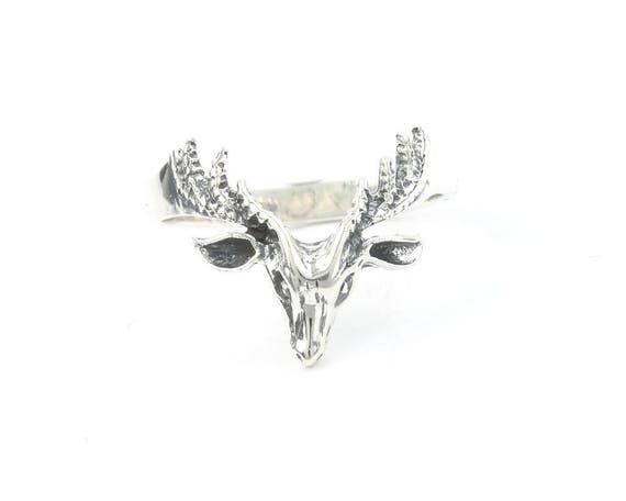 Sterling Silver Deer Ring, Antler Ring, Deer Horns, Bones, Boho, Bohemian,  Festival, Hippie, Gypsy, Animal,