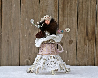 Art Dolls, Mixed Media Art, Assemblage Art, Mixed Media Assemblage, Steampunk Assemblage Doll, Collage Art, Tea Party Decor, Altered Art