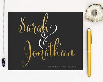 Real Gold Foil Wedding Guest Book Landscape Gold Guest Books Horizontal Guestbook Modern Wedding Gold Foil Script Wedding - Black