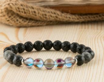 Opal bracelet mens gift for men larvikite jewelry brother bracelet for brother gift for brother opal jewelry husband bracelet for husband