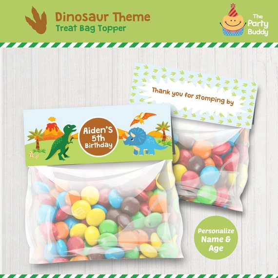 Personalized Dinosaur Party Treat Bag Toppers DIY Digital