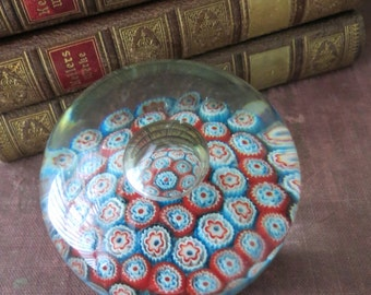 Millefiori Murano Glass Paperweight-Blue Pink Red White-Vintage Italian-Controlled Bubble-Great Gift Idea!