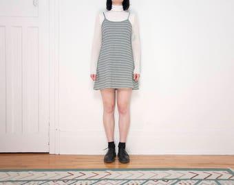 90s Striped Tank Dress / Spaghetti Strap / Size M-L