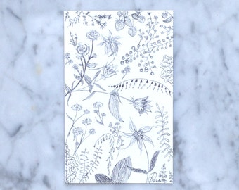 floral botanical minimalist black & white pen sketch drawing card