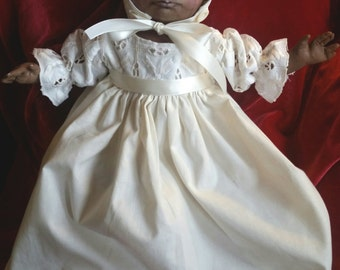 Ooak 14 inch all cloth oil painted infant baby in vintage fabric outfit