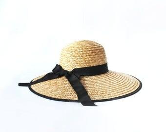 1990s Wide Brim Bow Tie Straw Hat