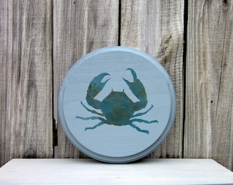 Crab Sign, Blue Crab, Painted Wood, Seafood Sign, Kitchen Sign, Sea Decor, Round Sign, Gray, Blue, Kitchen Wall Art