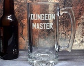 Dungeon Master - Etched Beer Mug - Etched Barware - Large Heavy Mug - Tabletop RPG Drinkware - Add Name or Gamer Tag - D&D Player - DM Gift