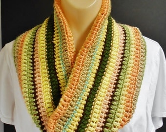 Infinity Scarf Striped Crochet Neck Warmer Cowl Yellow Green Brown Any Size Knitted Circle Scarf Fall Colors Handmade Gift Idea
