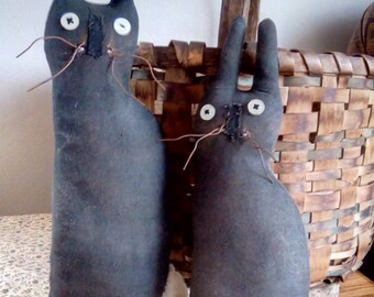Set Of 2 Primitive Black Rabbits Shelf Sitters Spring Decor