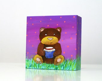 Bear painted wooden boxes Bear gift box Hand painted animal box Sweets box Wooden jewelry box Children box Trinket box Bear art box