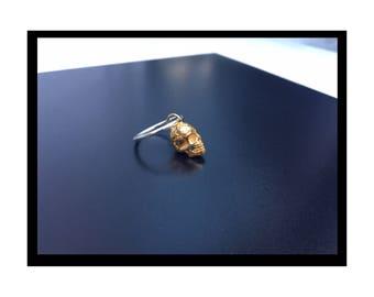 Solid sterling silver SKULL  charm Ring with choice of Gemstone. Silver with Silver skull or Silver with Gold skull.