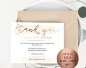 INSTANT Business Thank You Cards, Editable PDF Packaging Inserts for Online Shops, Etsy Sellers | Faux Rose Gold, Emma | Instant Download