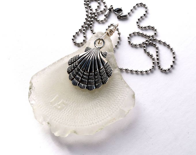 Large Sea Glass Bottle Bottom Pendant Embossed with a #15 on a Sterling Wire Bail with a Silver Scallop on Stainless Steel Ball Chain 20""