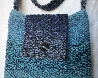 HandKnittedBag WomansPurse BlueTweedBag WoolSilkShoulderBag OneOnlyBag
