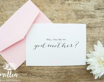 Will you be my Godmother Card | Baptism | Christening Card |  Will you be my Godmother? | Godfather | Godparents | (Single Card)