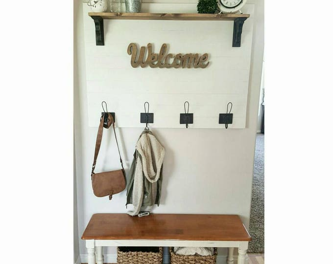 Entryway Sign - Shiplap Coat Rack - Coat Rack - Coat Rack Shelf - Entryway Coat Rack