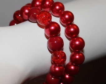 Red Pearl Bracelet, Red Pearl Jewelry, Beaded Red Bracelet, Beaded Red Jewelry, Jewelry with Red Pearls, Bracelet with Red Pearls, Red Pearl