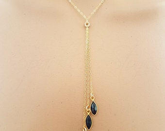 Iolite Necklace, Gold Iolite Drop Necklace, Marquise Shaped Iolite, Water Sapphire Necklace, Cordierite Necklace, Iolite Y Necklace