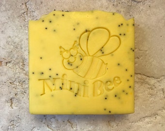 LEMON POPPYSEED Shea Butter Soap, Exfoliating, Handmade Soap, Cold Process Soap, Moisturizing