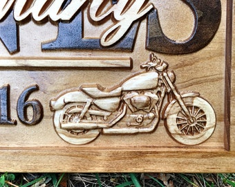 Personalized Motorcycle Art Wedding Gift Family Name Sign Custom Wood Sign  Harley Motorcycle Wall Art Bar