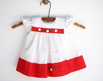 1960s Baby Girl Dress, Red and White Christmas Baby Dress, Baby Dress, 3 Months Dress