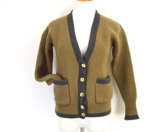 Vintage 70s NORDSTROM Pure Wool Cardigan Sweater Oatmeal Brown Chunky Knit V Neck Cardigan Grandpa Sweater Preppy Varsity Trimmed Sweater SM