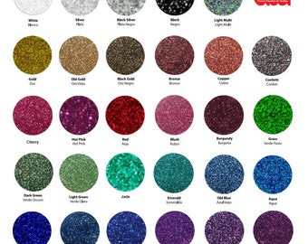 "Siser Glitter HTV (Heat Transfer Vinyl) - 12"" x 7.5"" (30 x 20 cm), 35 glitter colors available, tshirt vinyl, iron on vinyl, glitter vinyl"