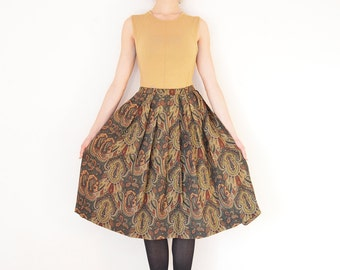 Vintage High Waist Pleated Skirt // Paisley Pattern // Green Brown Wool Vintage Midi Skirt // Best fits size M