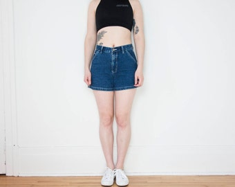 90s High Waist Carpenter Shorts with Contrast Stitching / Size 27