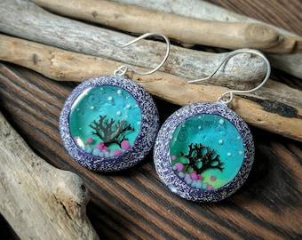Resin Earrings Botanical Jewelry Clay Earring Festival Jewelry Resin Jewelry Polymer clay Jewelry Blue Earrings Tree Earrings Burning man