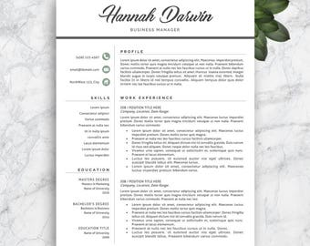 Resume Template. Modern Resume Template. Professional Resume Template. Professional CV Template. Teacher Resume Template. Instant Download.