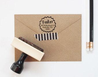 Personalized Return Address Stamp Custom Floral Wreath Rubber Stamp Return Address Label Custom Address Stamp New Home Wedding Gift