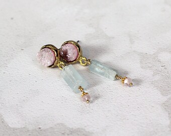 Raw Aquamarine Earrings - Rose Quartz Earrings - Druzy Drop Earrings -  March Birthstone - Healing Crystal Jewelry -  Unusual Earrings